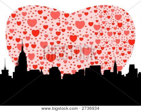 Midtown Manhattan With Hearts Illustration (Replacing: 2529438)
