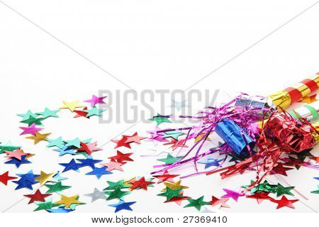 New Year's Eve noisemaker and confetti