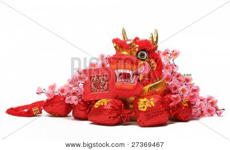 Chinese New Year Ornaments--Traditional Dancing Dragon,Money Bags and Plum Blossom.