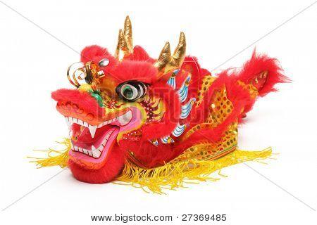Decoração de ano novo chinês - Closeup de dança dragão branco.