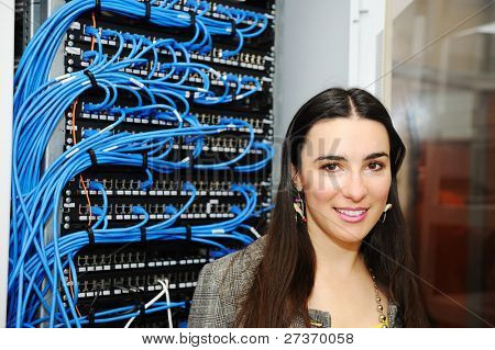 Female administrator at server room