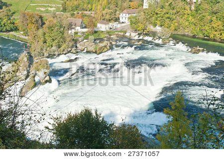 Mighty Rhine Falls (Rheinfall) at Schaffhausen in Switzerland.