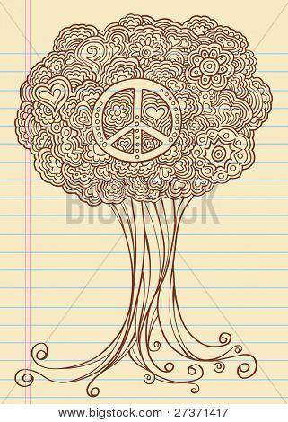 Notebook Doodle Sketch Henna Tree Drawing Vector Illustration Art