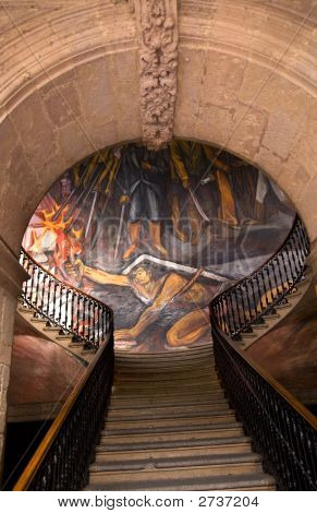 Stairs Mural Of La Pipila Government Palace Morelia Mexico
