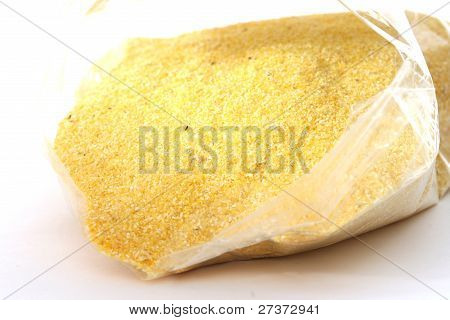 Yellow corn flour in a bag