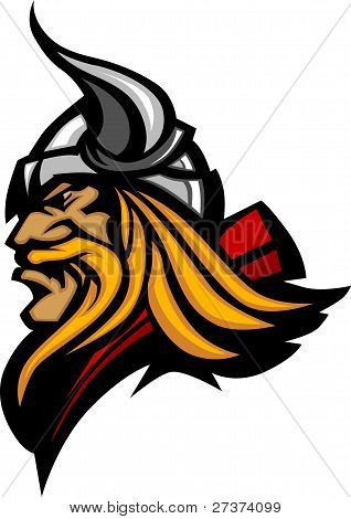 Viking Mascot Vector Profile With Horned Helmet