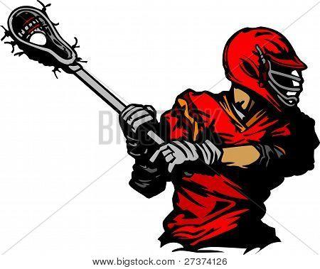 Lacrosse Player Cradling Ball Illustration