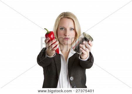 Food Canning Business Woman Concept