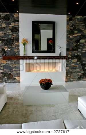 Ultra Contemporary Fireplace And Living Room