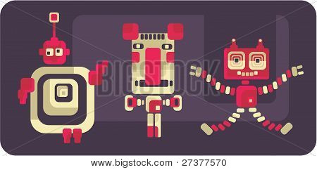 Retro style robots and monsters.