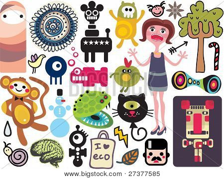 Mix of different vector images and icons. vol.18
