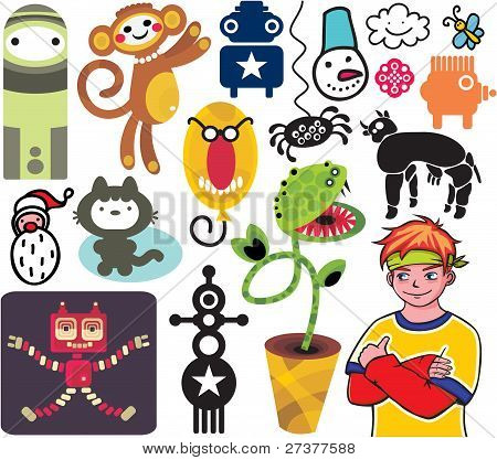 Mix of different vector images and icons. vol.19