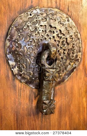 Male bronze antique drawer door handle, Esfahan, Isfahan. Iran