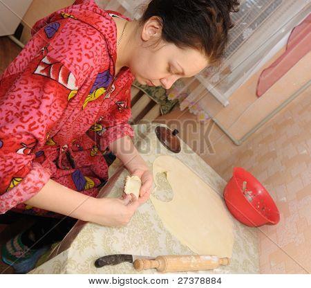 The Woman Prepares A Pie