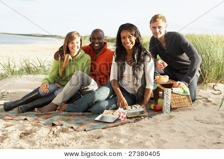 Group Of Young Friends Enjoying Picnic On Beach Together