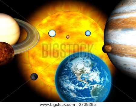 Solar System With Burning Sun 3D Render