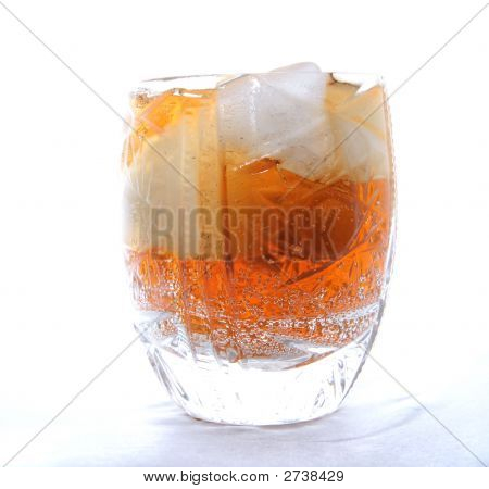 Crystal Glass With Ice-Cold Drink