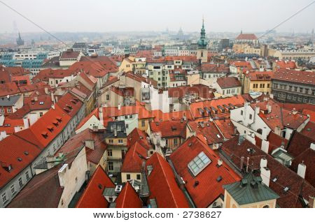 Aerial View Of Old Town Square Neighborhood In Prague