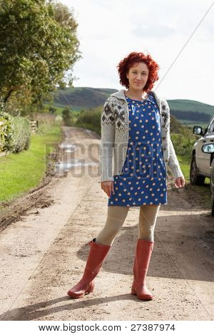 Woman on country path