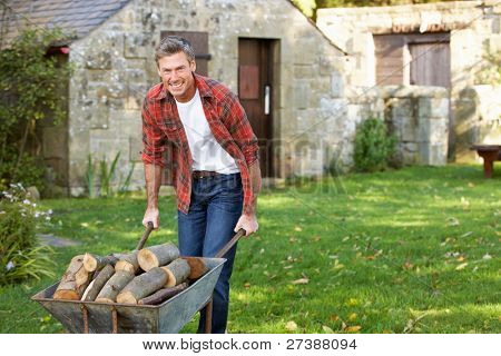 Man working in country garden