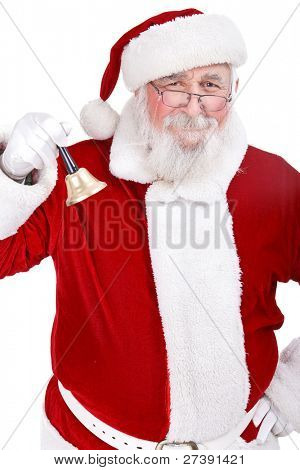 Santa Claus with bell and great smiling , isolated on white background