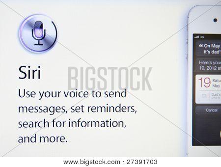 Cupertino, ca Dec 9: Siri, die Iphone-intelligente Software-Assistent hilft Apple 30 Millionen i verkaufen
