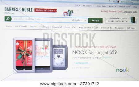 NEW YORK - DEC 9: Barnes & Noble has shipped (not sold) one million units since the Nook Tabletâ??s mid-November launch as of Dec 9, 2011 in New York. Nooks are competing with Kindles and Apple Ipads.