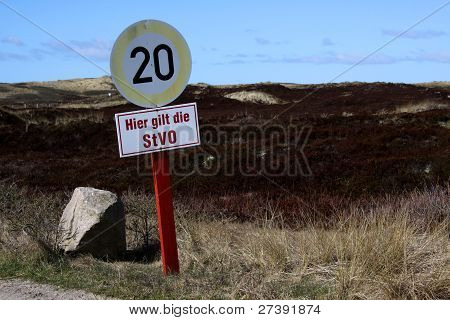 Street Sign (speed Limit) On The German Island Of Sylt
