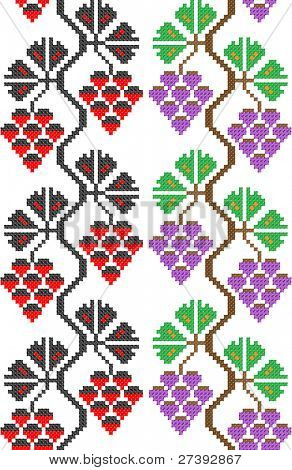 two seamless embroidered good like handmade cross-stitch ethnic Ukraine pattern. Raster version over 20MPx