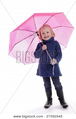 Laughing Little Girl Under Pink With Dots Umbrella