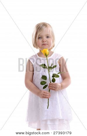 Little Girl With Yellow Rose