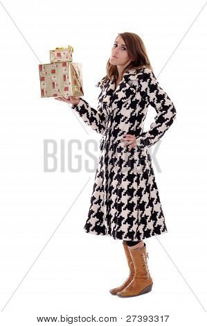 Woman In Black & White Coat With Xmas Presents