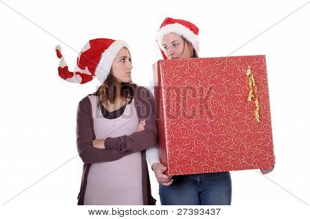 Two Young Women With Christmas Present