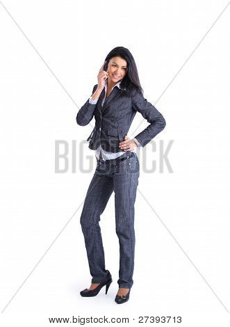 Confident smart businesswoman on mobile phone call