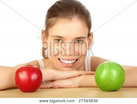 Girl With Red And Green Apple