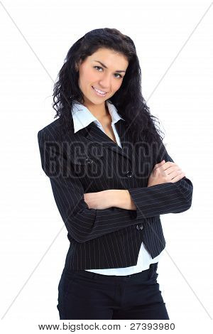 Closeup portrait of a happy young business woman with folded hand