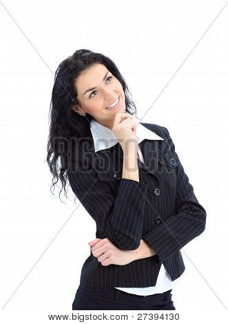 Happy business woman dreams about something