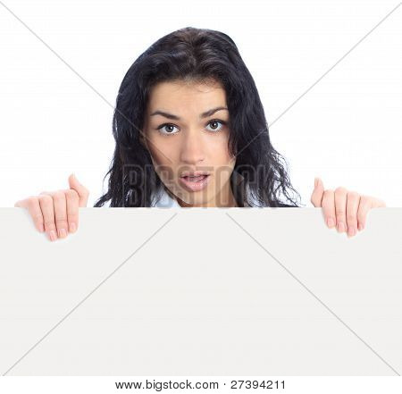 business woman displaying with surprise a banner add isolated over a white background