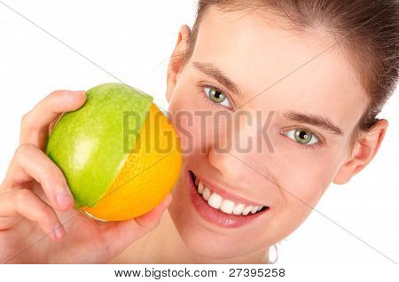 Girl With Apple And Orange