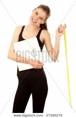 Girl Holding Scales And Tape