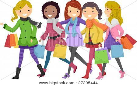 Illustration of Teenagers Out Shopping