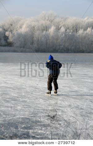 Older Ice Skating Man