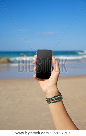 Blank Mobile In The Beach