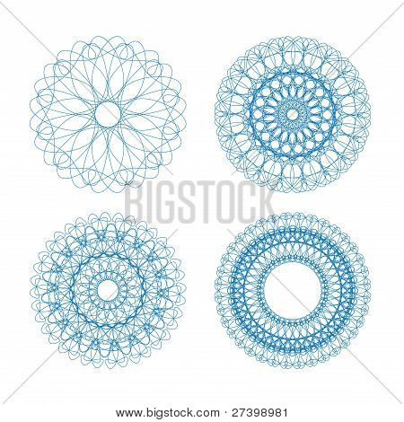 Set of vector blue guilloche rosettes
