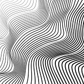 Black And White Wave Pattern. Vector Squiggle, Waving Dynamic Lines. Abstract Op Art Design. Tech Ba poster