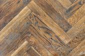 Old Aged Dirty Herringbone Parquet Background. Natural Weathered Scratched Oak Hardwood Texture poster