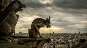 Gargoyles Or Chimeras On The Cathedral Of Notre Dame De Paris Overlooking Paris, France. Gargoyles A poster