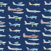 Seamless Pattern With Propeller Airplanes. Private Turbo Propeller Aircraft, Passenger Plane, Hydrop poster