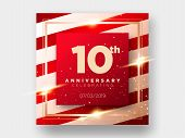 10 Years Anniversary Celebration Vector Card. 10th Anniversary Luxury Background. Elegant Layout For poster