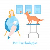 Flat Pet Psychologist, Dog Having Psychological Therapy And Counseling With Therapist. Health, Veter poster